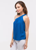 One Shoulder Top in Deep Blue