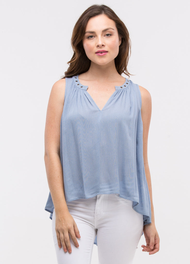 Sleeveless Grommet Top in Chambray