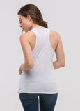 Sleeveless Crossover Draped Top in White