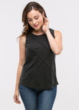 Sleeveless Seam Detail Top in Black