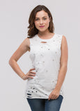 Sleeveless and Distressed Tee with Star Studs