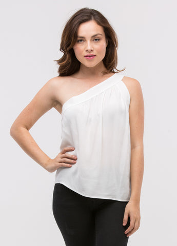 One Shoulder Top in White