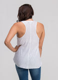 Jersey Crew Neck Racer Back Tank in White