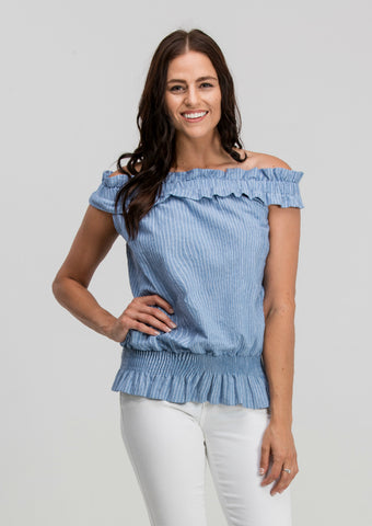 Ruffled Off-The-Shoulder Pin Stripe Top in Blue
