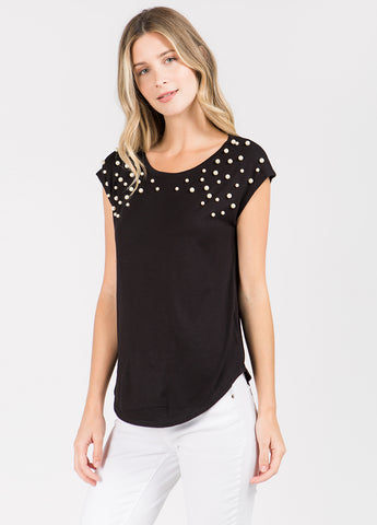 Sleeveless Top with Pearl Embellishment in Black