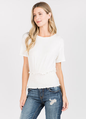 Smock Waist Tee in White