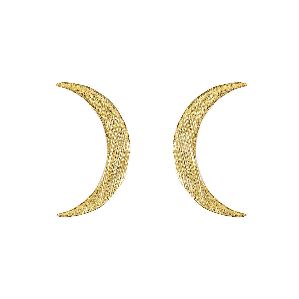 Crescent Moon Studs in Brushed Gold