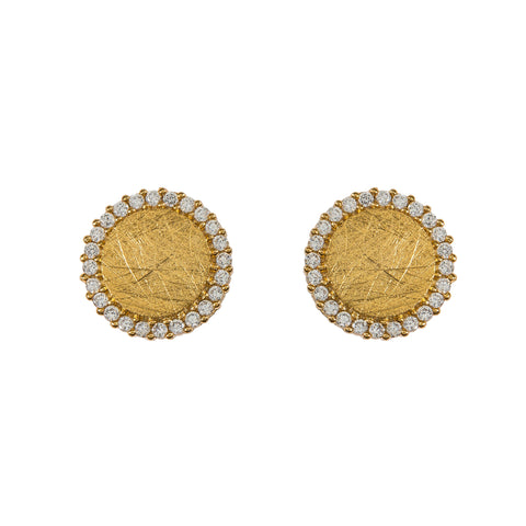 Pave Sliced Studs in Gold