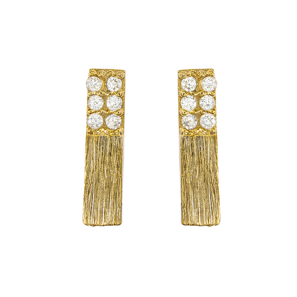 The Half & Half Gold Bar Stud Earrings