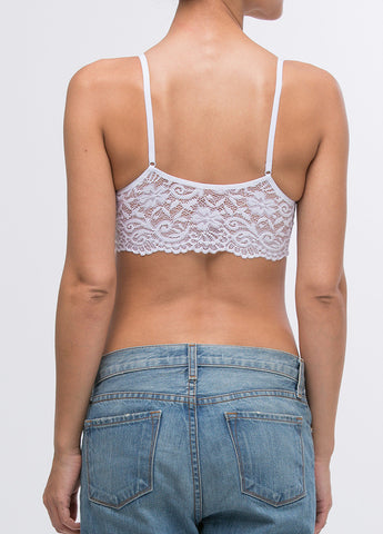 Lace Back Scoopneck Seamless Bra in White