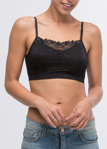 Lace Seamless Scoop Neck Bra in Black