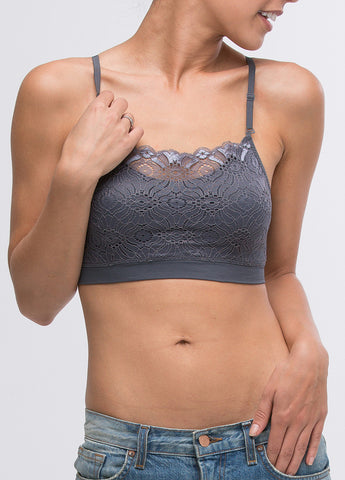 Lace Seamless Scoop Neck Bra in Charcoal