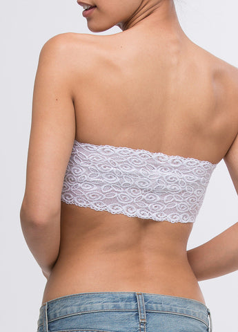 Lace Back Bandeau in White