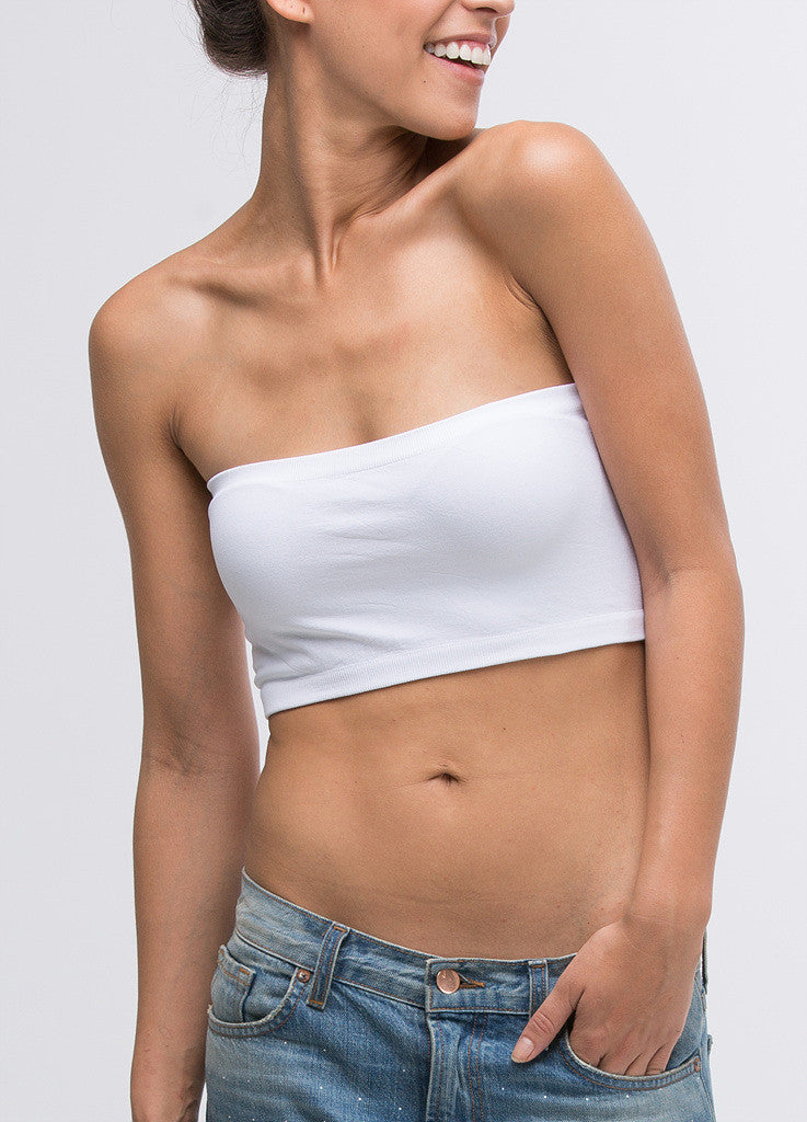 White Seamless Bandeau Top