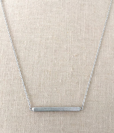 "1""  Square Silver Bar Necklace"