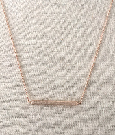 "1""  Square Rose Gold Bar Necklace"