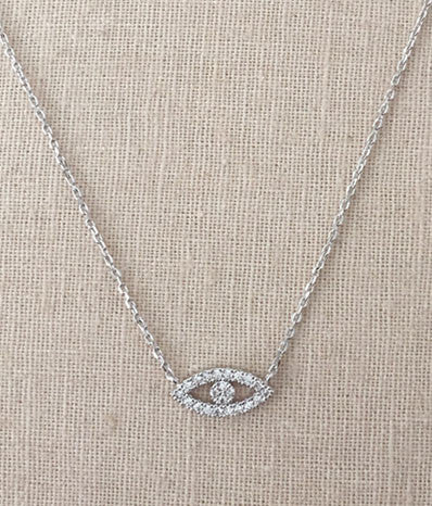CZ Evil Eye Necklace in Silver