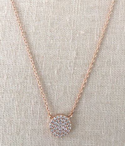 CZ Disc Necklace in Rose Gold