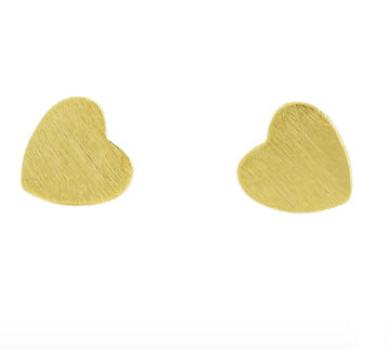 Heart Studs in Brushed Gold