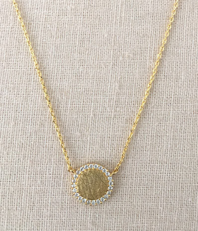 Pave Sliced Gold Necklace