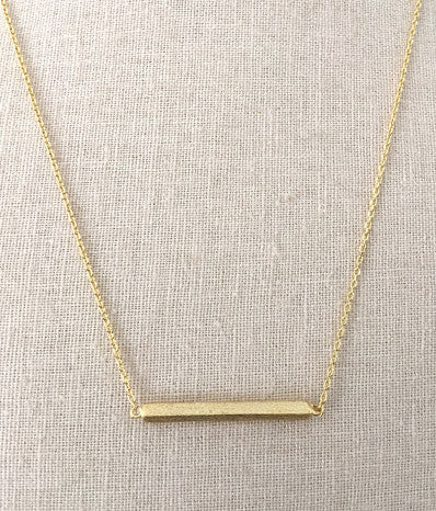 "1""  Square Gold Bar Necklace"