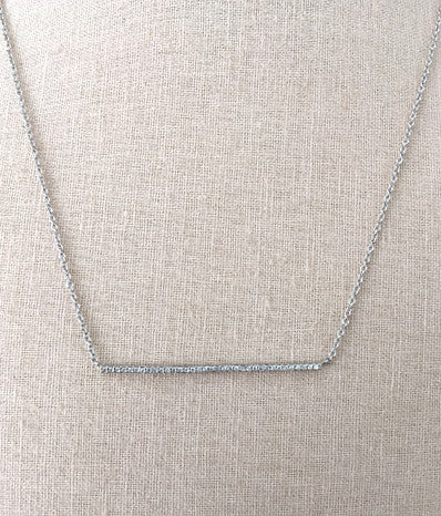 Classic CZ Bar Necklace in Silver