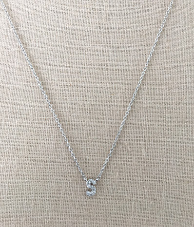 "Cubic Zirconia ""S"" in Silver"