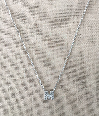 "Cubic Zirconia ""M"" in Silver"