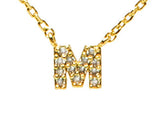 "Cubic Zirconia ""M"" in Gold"