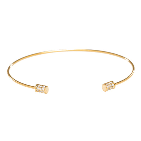 CZ Barrel Open Bangle in Gold
