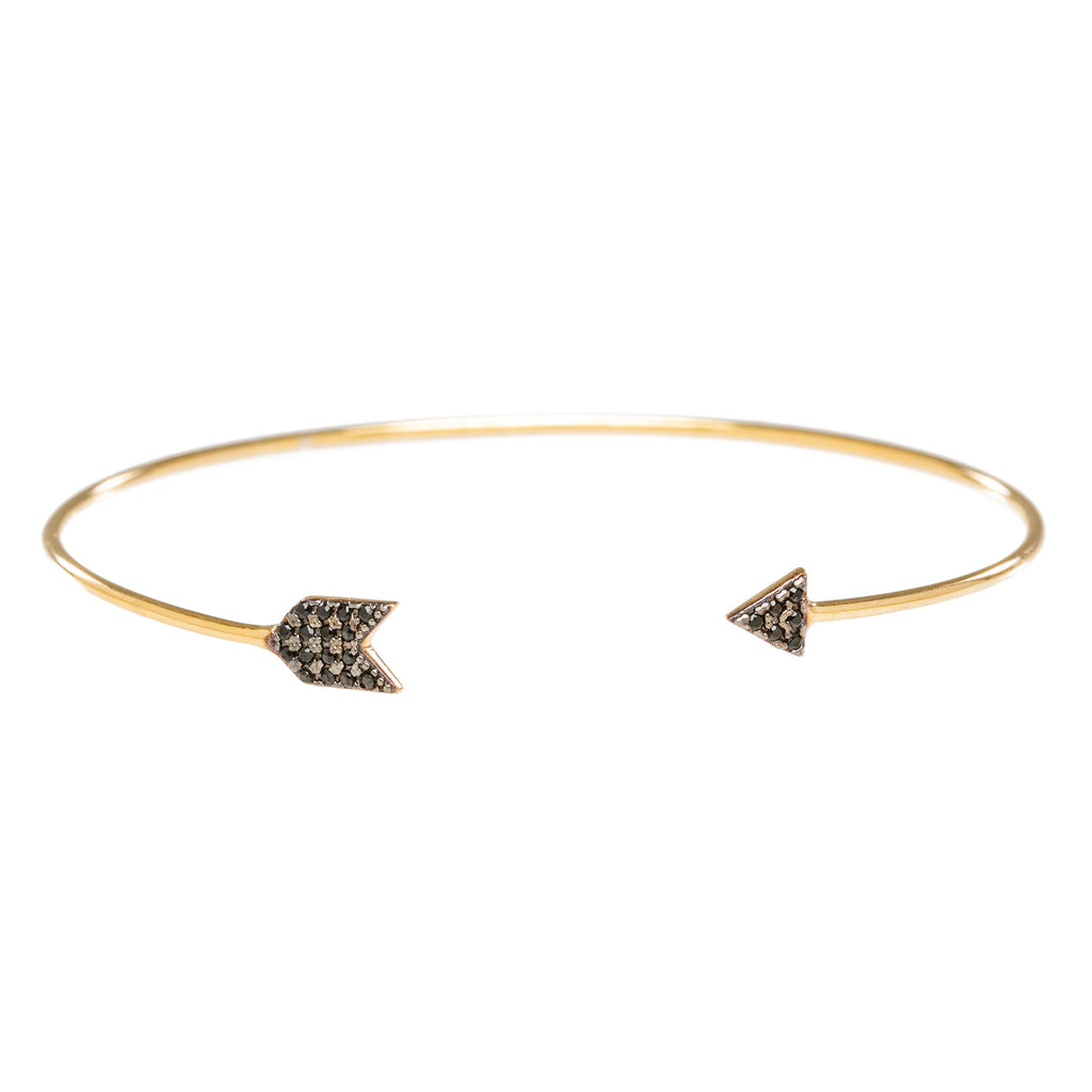 Black Pave CZ Arrow Open Bangle in Gold