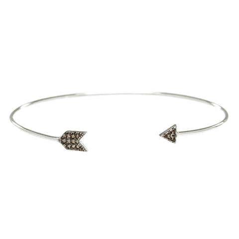 Black Pave CZ Arrow Open Bangle in Silver