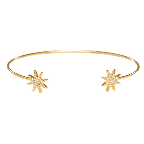 CZ Starburst Open Bangle in Gold
