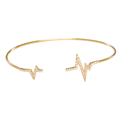 Pave CZ Heartbeat Open Bangle in Gold