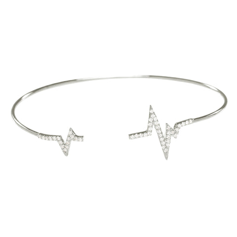 Pave CZ Heartbeat Open Bangle in Silver