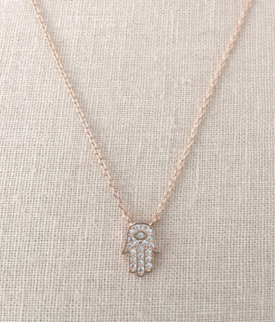 CZ Hamsa in Rose Gold
