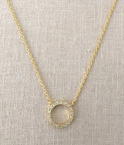 CZ Open Circle Ring Necklace in Gold