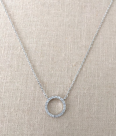 CZ Open Circle Ring Necklace in Silver