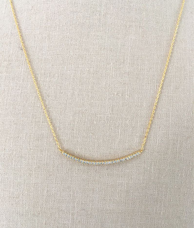 CZ Curved Bar Necklace in Gold