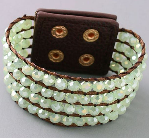 Beaded Band Bracelet in Mint