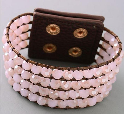 Beaded Band Bracelet in Rose Quartz