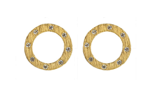 Open Circle Gold Studs with CZ