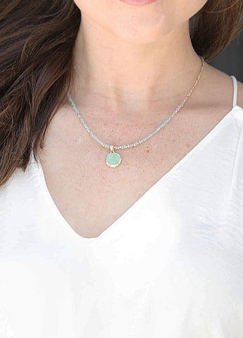 Gold Nugget and Mint Beaded Necklace with Druzy Charm