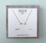 Gold Crystal Arrow Necklace and Earring Set