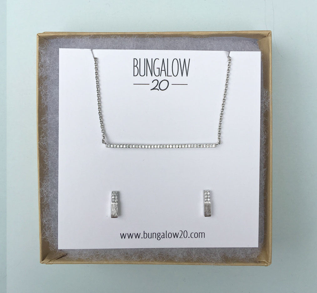 Delicate CZ Silver Bar Necklace with Half & Half Bar Studs
