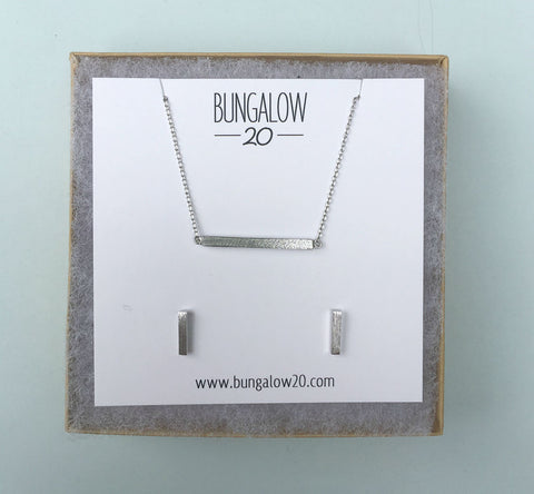 "1"" Square Silver Bar Necklace with Silver Bar Studs"