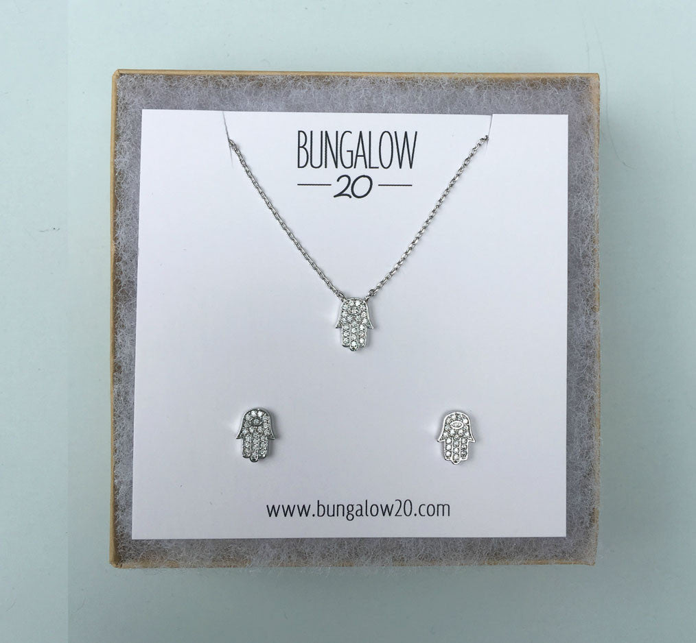 Silver Hamsa Necklace and Earring Set