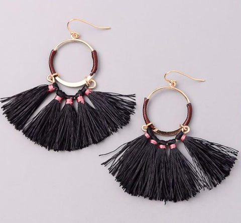 Bohemian Tassel Dangle Earrings in Black