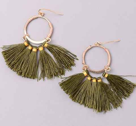 Bohemian Tassel Dangle Earrings in Olive
