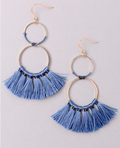 Double Hoop Tassel Earring in Blue